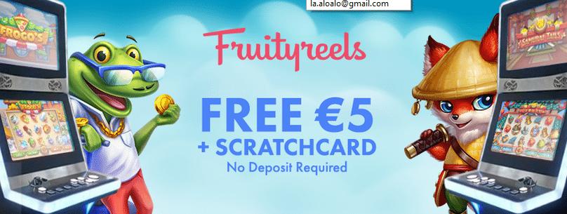 Gratis kraskaart zonder storting bij het Fruityreels casino